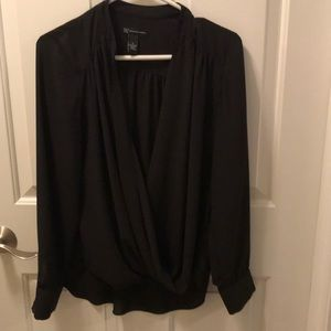 Black INC front wrap blouse, size 8.
